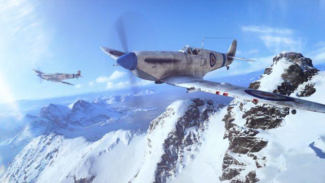 """Zwei Kampfflugzeuge fliegen über eine Alpenlandschaft. Ein Screenshot aus dem Spiel """"Battlefield V"""""""