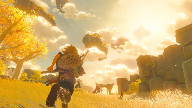 Link läuft im Nachfolger von Zelda: Breath of the Wild über eine Wiese gen Horizont.