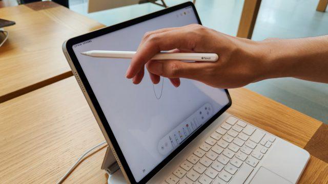 Eine Frau richtet ihr iPad Pro (2020) ein
