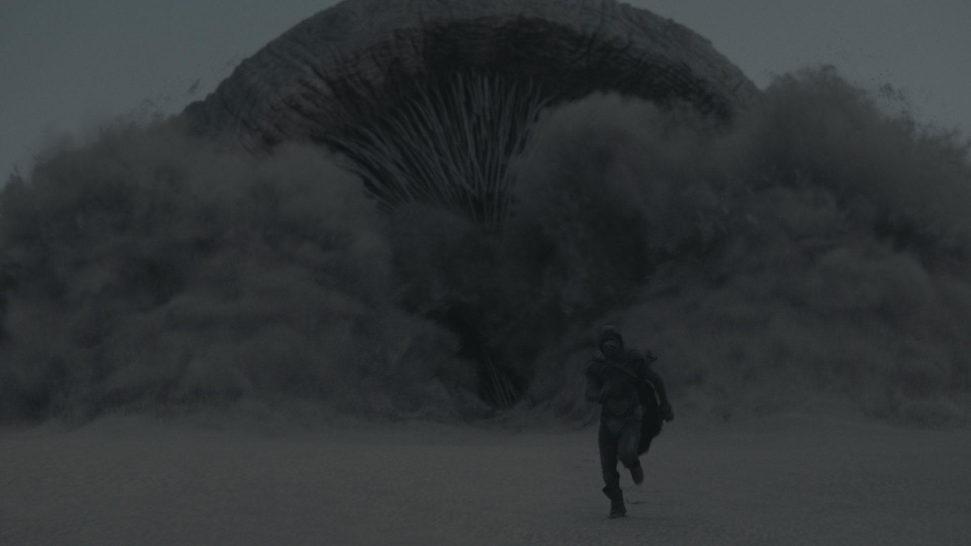 Ein Sandwurm verfolgt einen Jungen in der Wüste