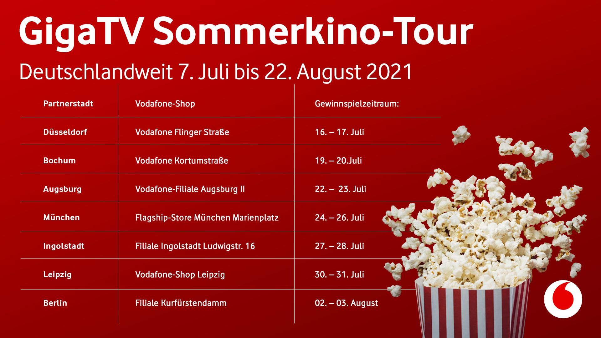 GigaTV Sommerkino-Tour Ticket-Übersicht