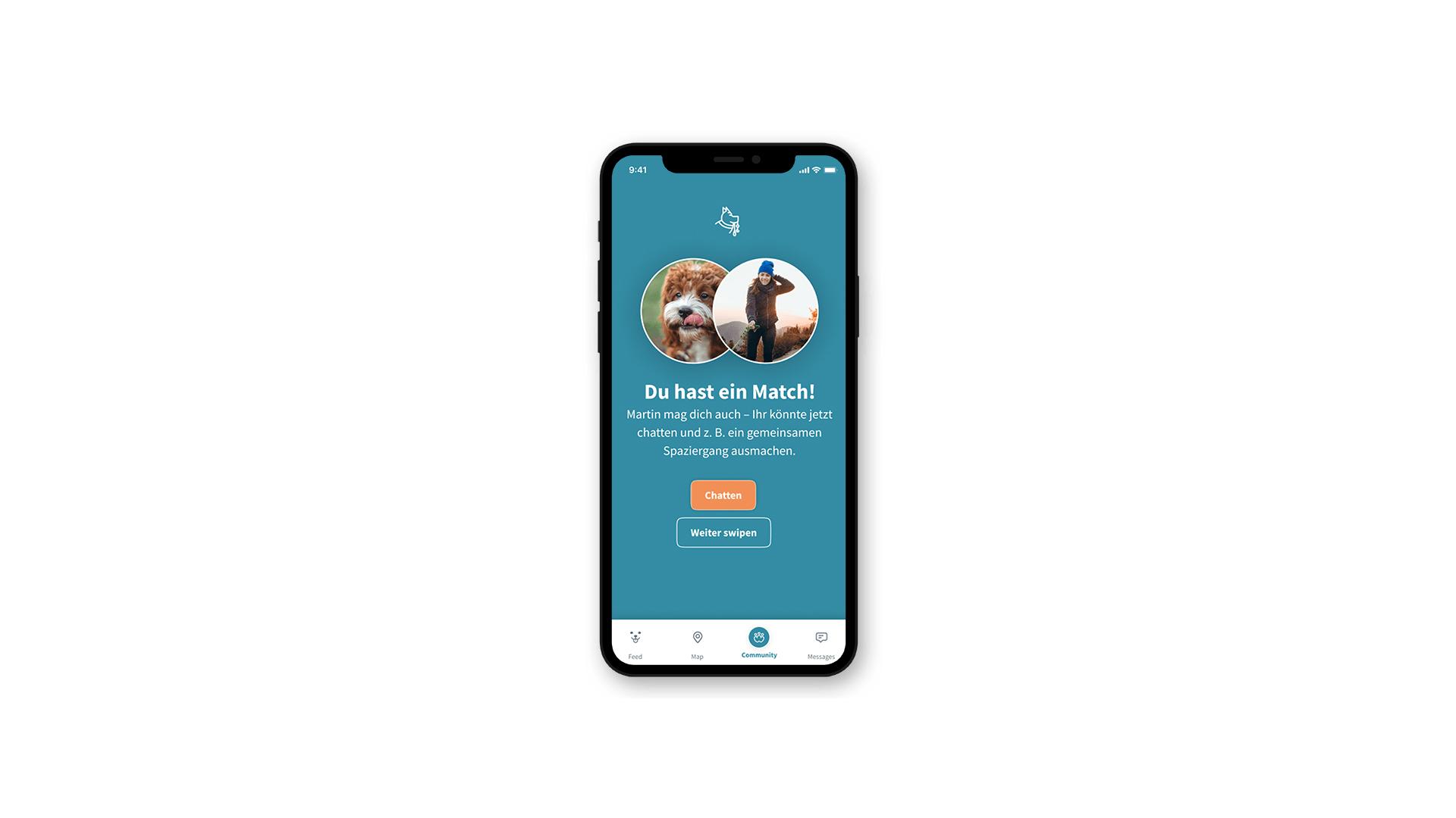 """Über die App """"Patzo"""" können Hundeliebhaber:innen mit Hunden matchen und zusammen Gassi gehen."""