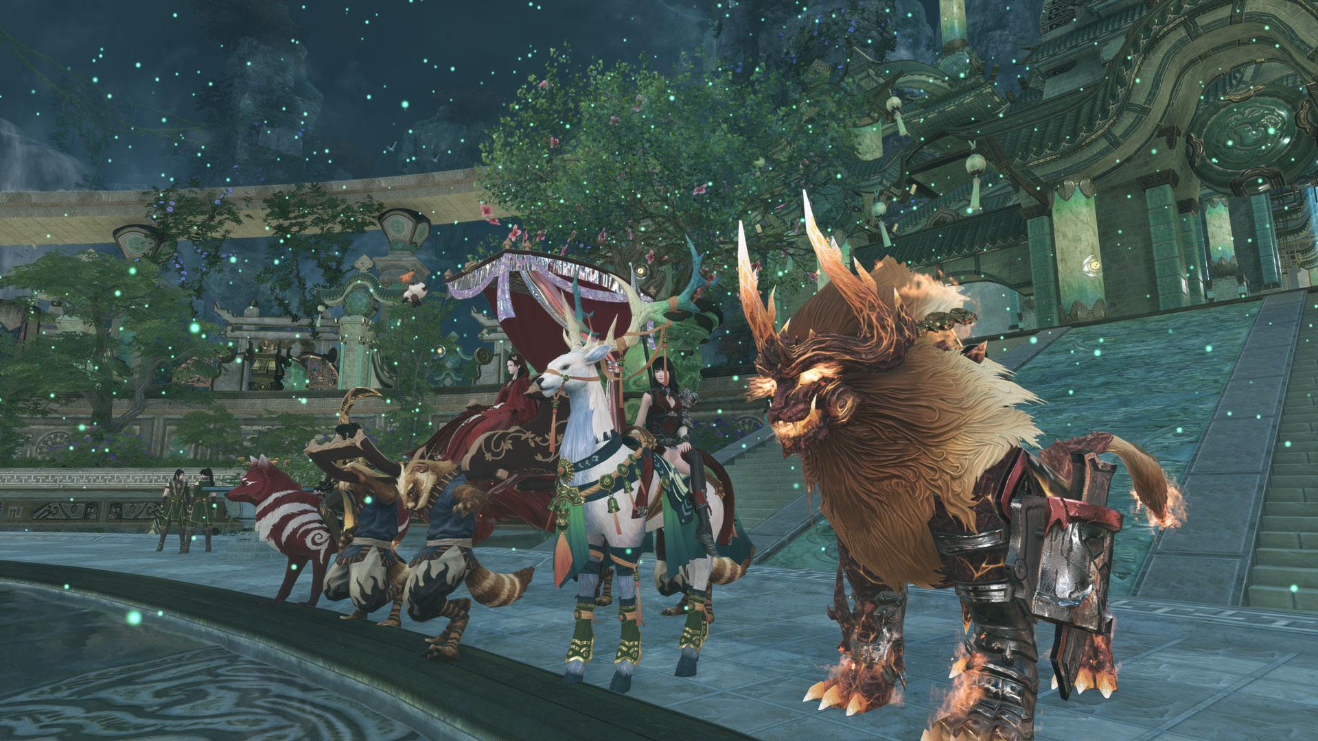 Eine Gruppe von Reittieren im Spiel Swords of Legends Online