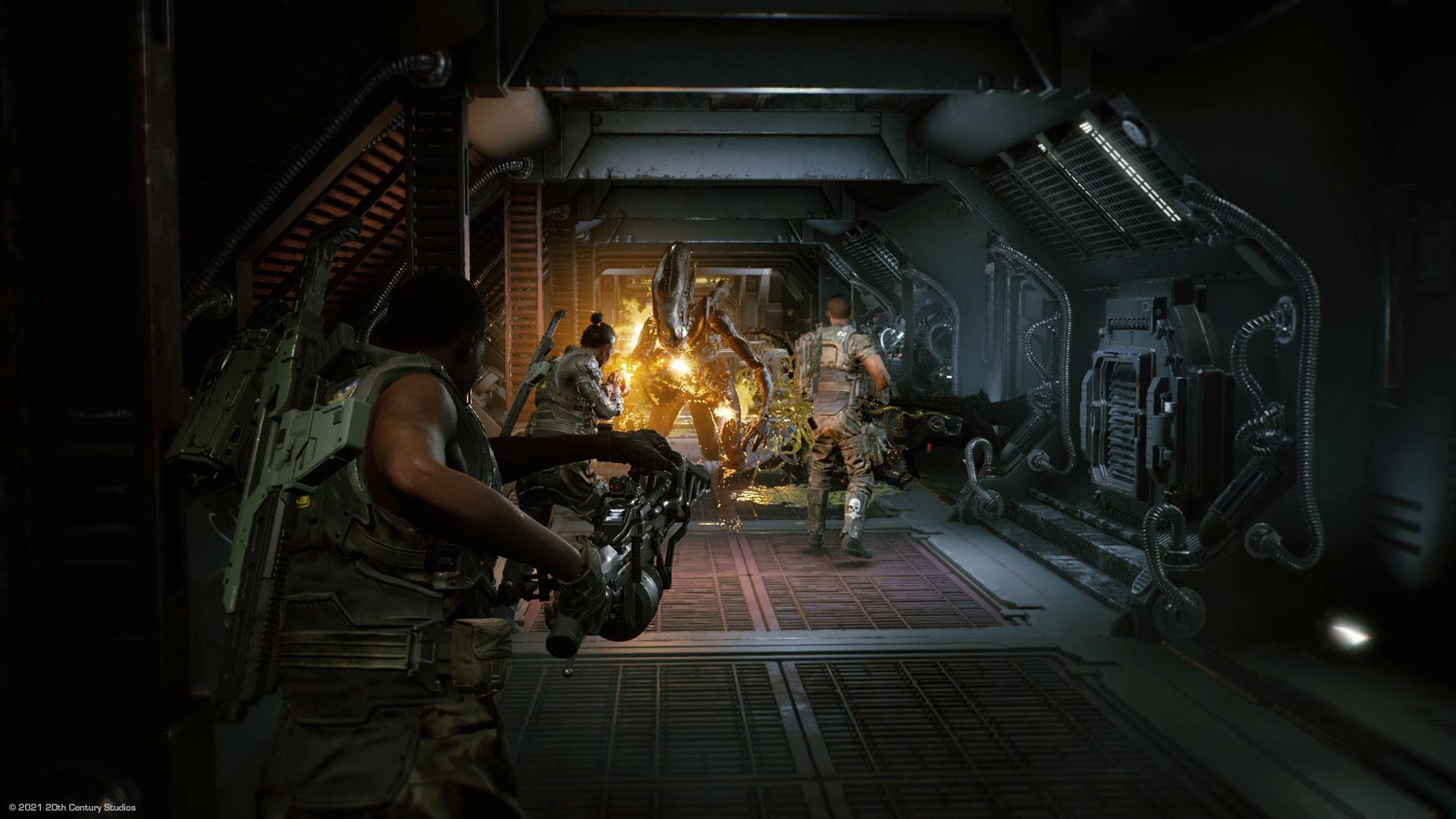 Eine Fireteam-Einheit kämpft gegen Aliens im Spiel Aliens Fireteam Elite