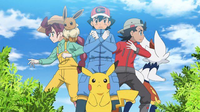 Chloe. Evoli, Ash, Pikachu und Goh aus der Serie Pokemon Meister-Reisen