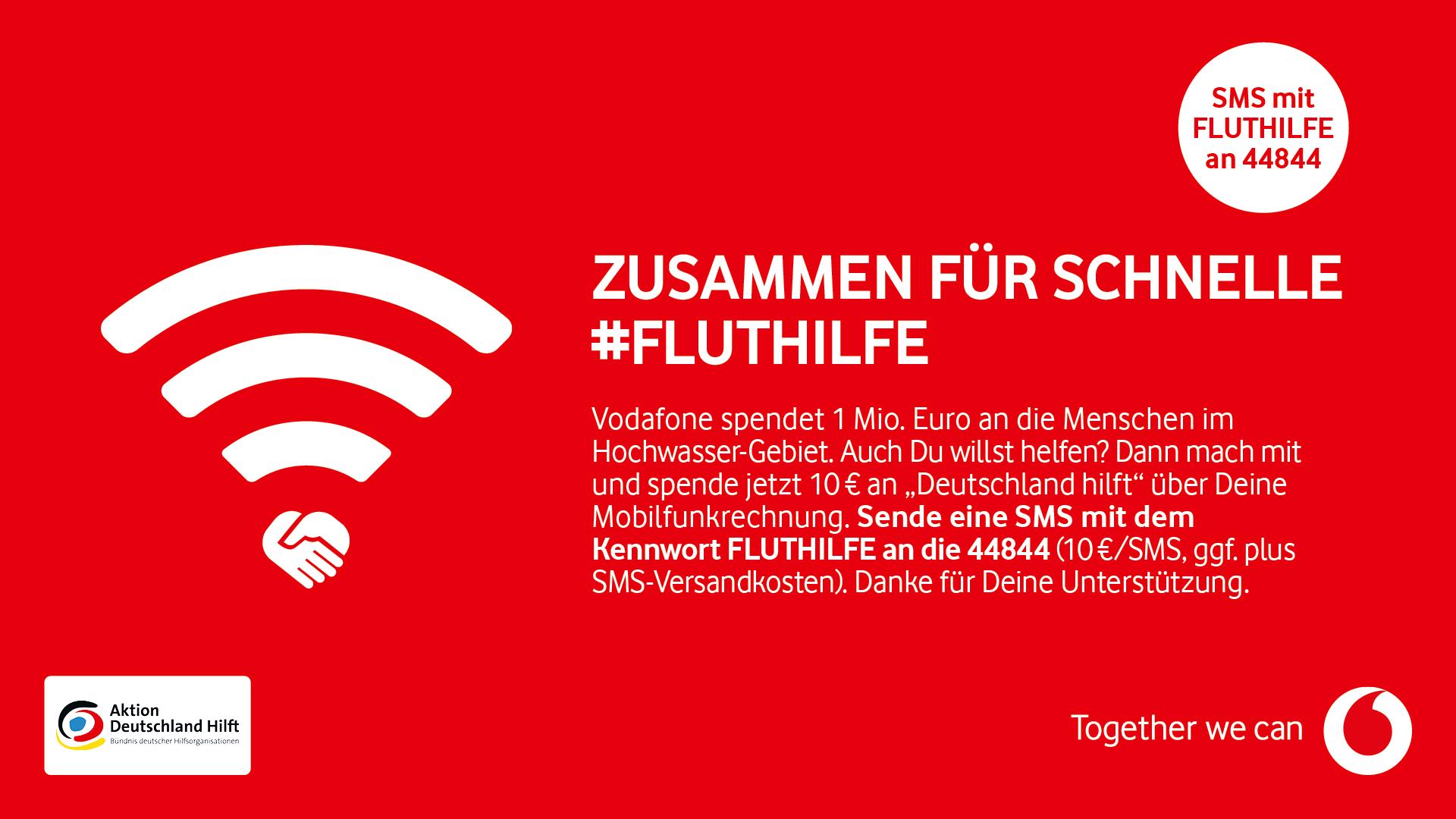 Ein Spendenaufruf von Vodafone für Betroffene der Hochwasserkatastrophe in Deutschland 2021.