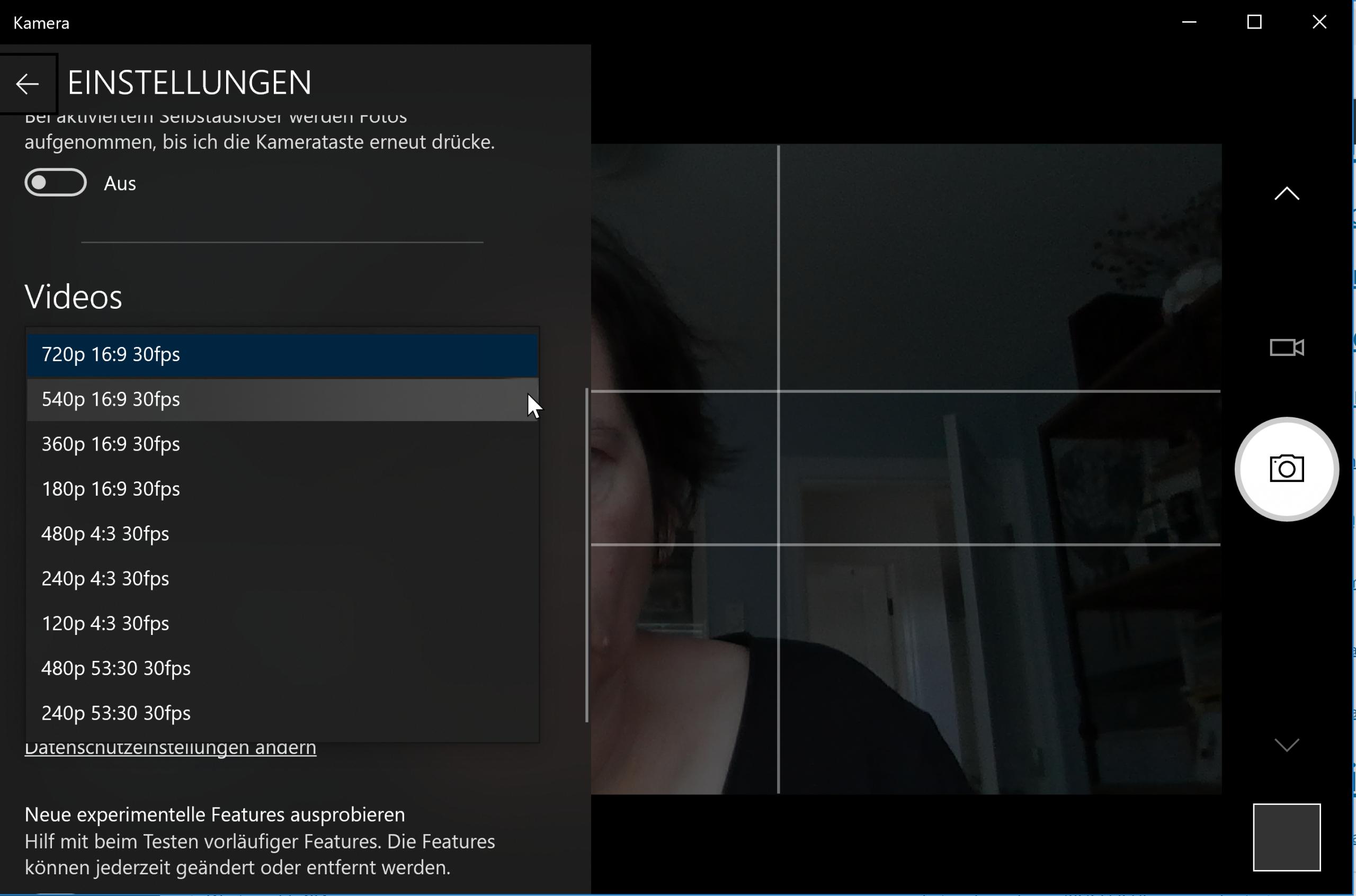Einstellungen der Kamera-App für eine Webcam