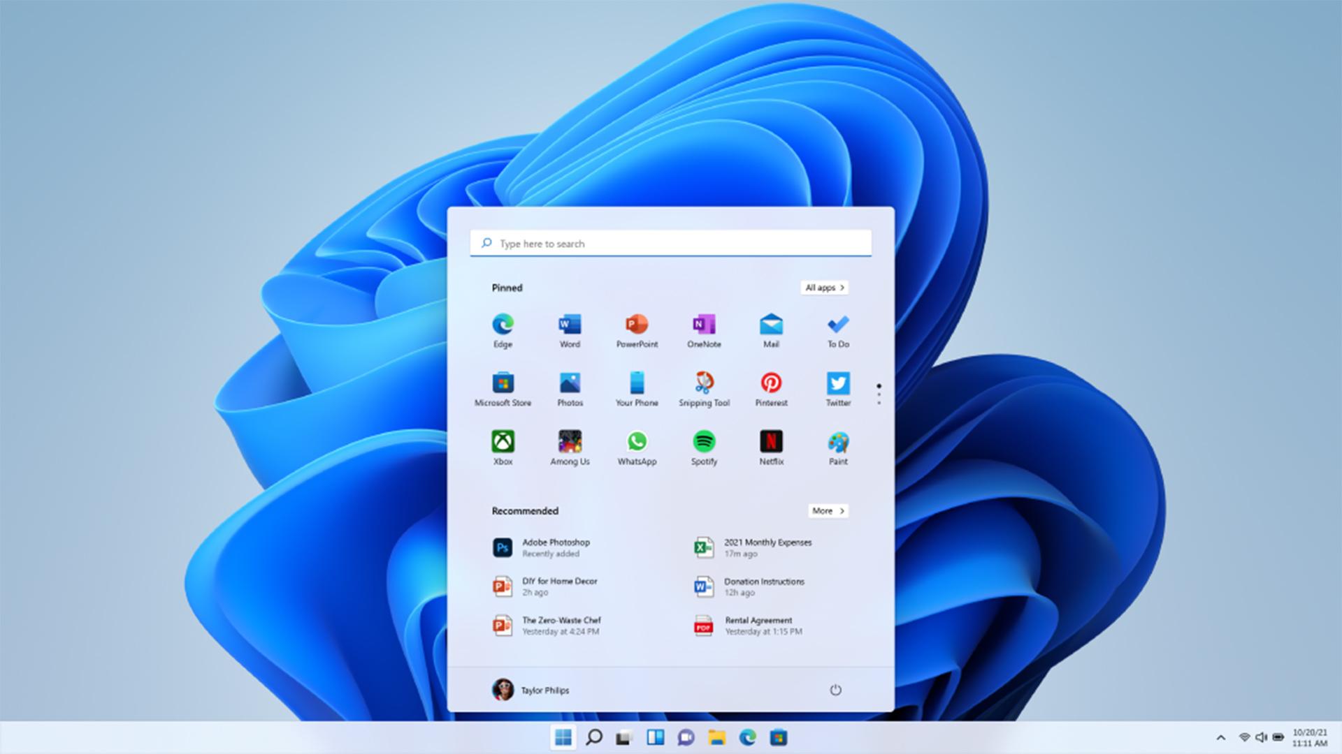 Auf dem Desktop des neuen Windows 11-Betriebsystems ist ein Menüfenster mit Einstellungsoptionen geöffnet.