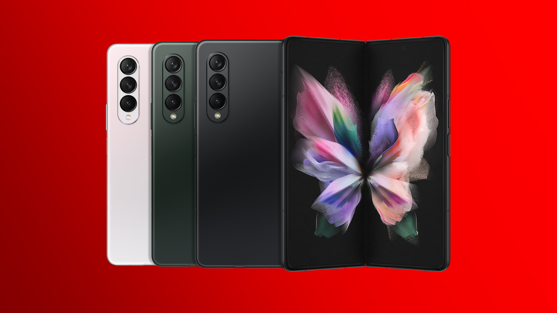 Das Samsung Galaxy Z Fold 3 5G in den Farben Phantom Silver, Phantom Green und Phantom Black.