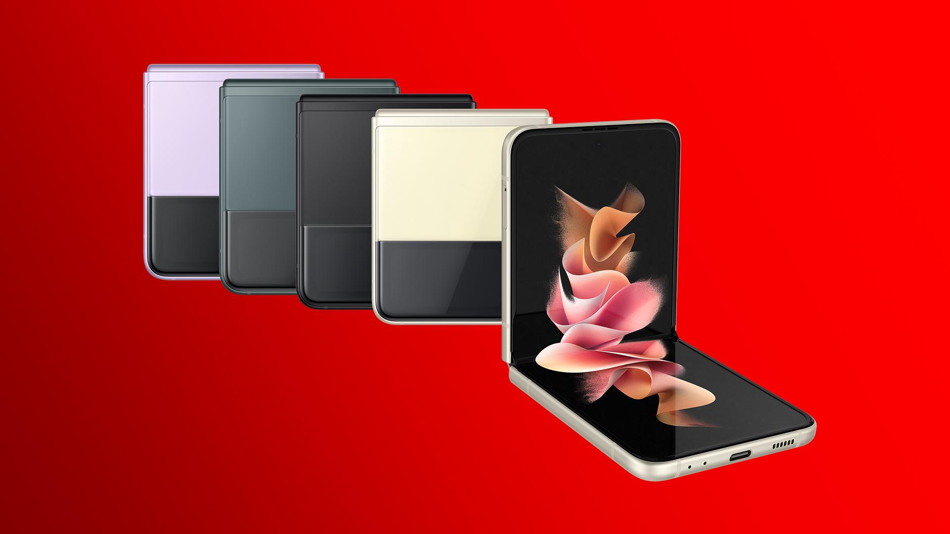 Das Samsung Galaxy Z Flip 3 5G in den Farben Phantom Lavender, Phantom Green, Phantom Black und Phantom Cream.