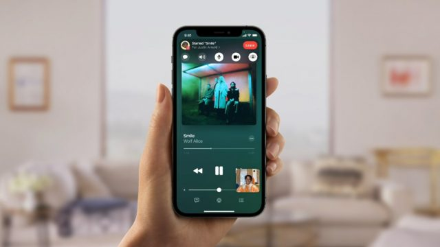 Beispiel für die Nutzung von Apple Music via SharePlay in FaceTime