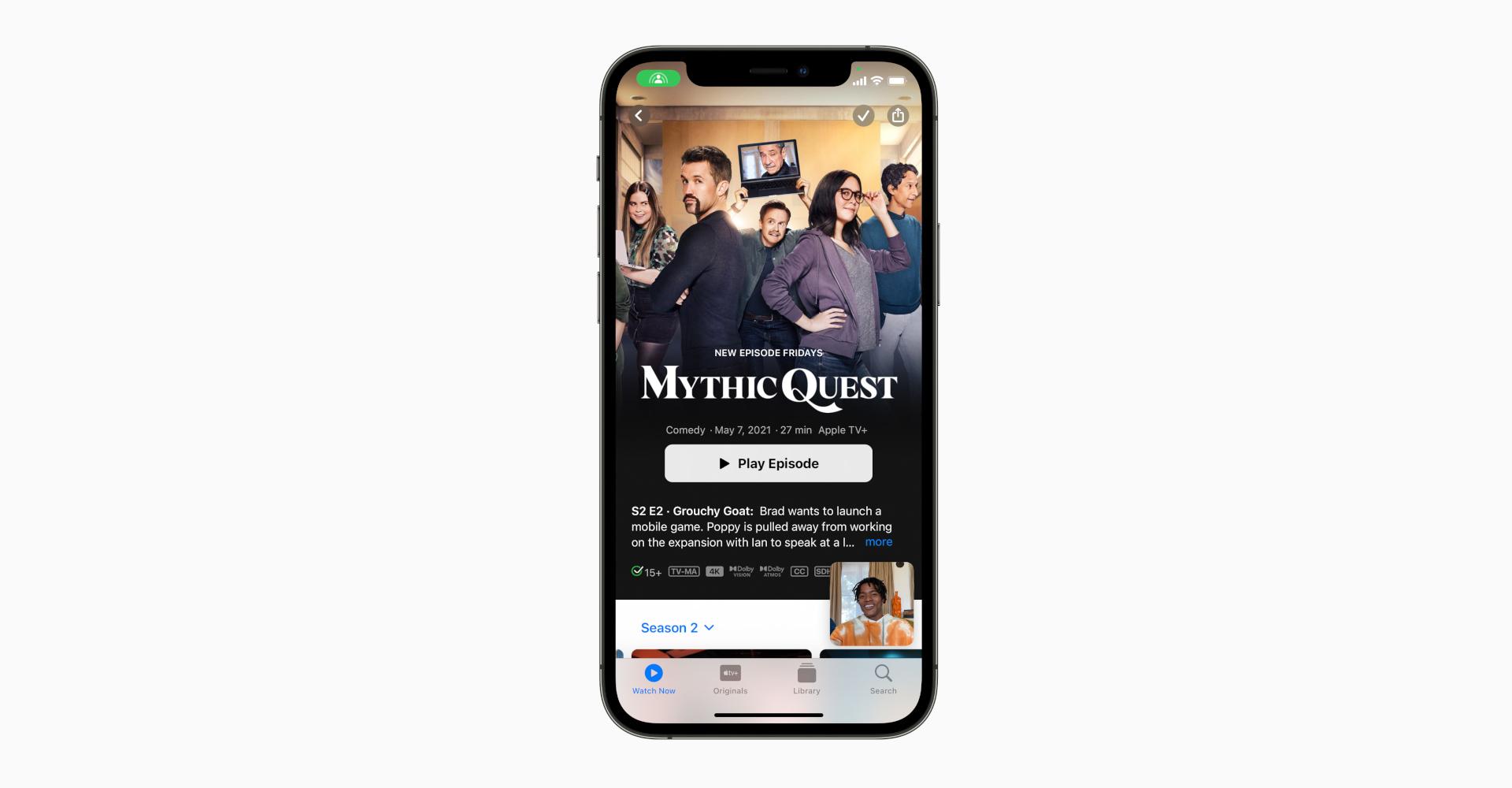 Beispiel für SharePlay via FaceTime mit Streaming über Apple TV+
