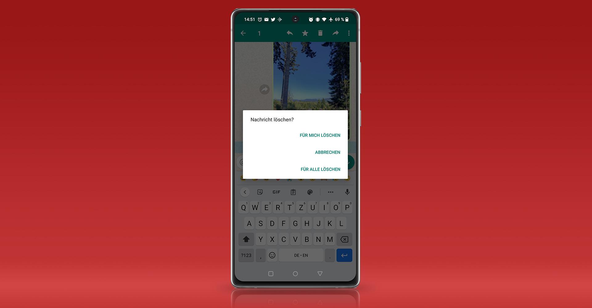 Screenshot: WhatsApp-Nachricht löschen unter Android