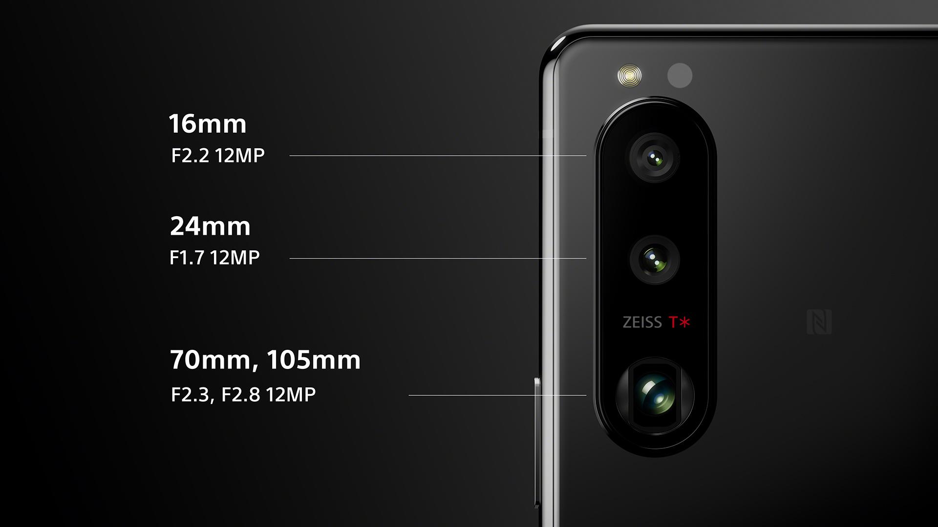 Die Kamera des Sony Xperia 5 III mit Ultraweitwinkel-, Weitwinkel- und Tele-Linse.