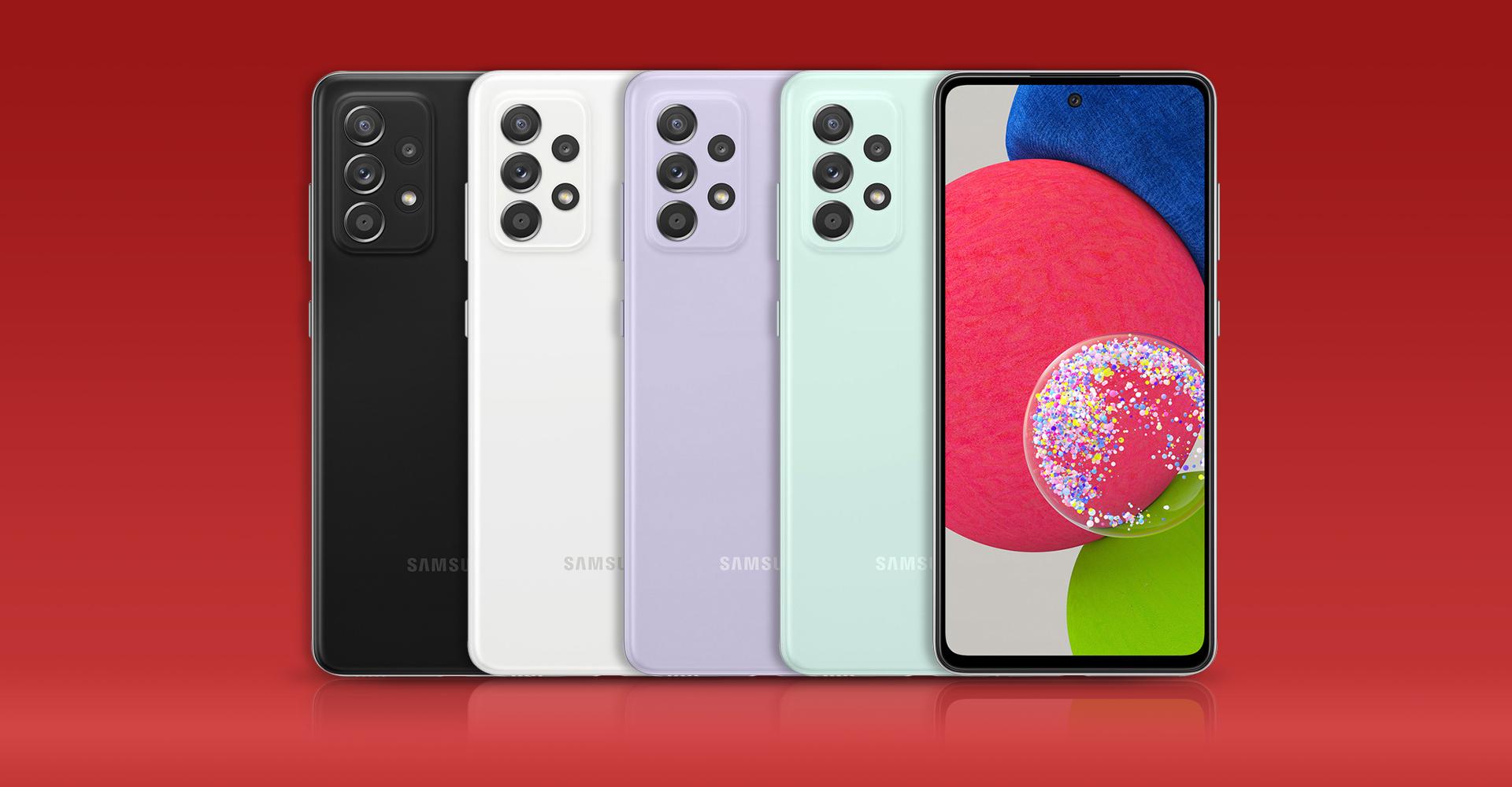 Das Galaxy A52s 5G in allen vier erhältlichen Farben