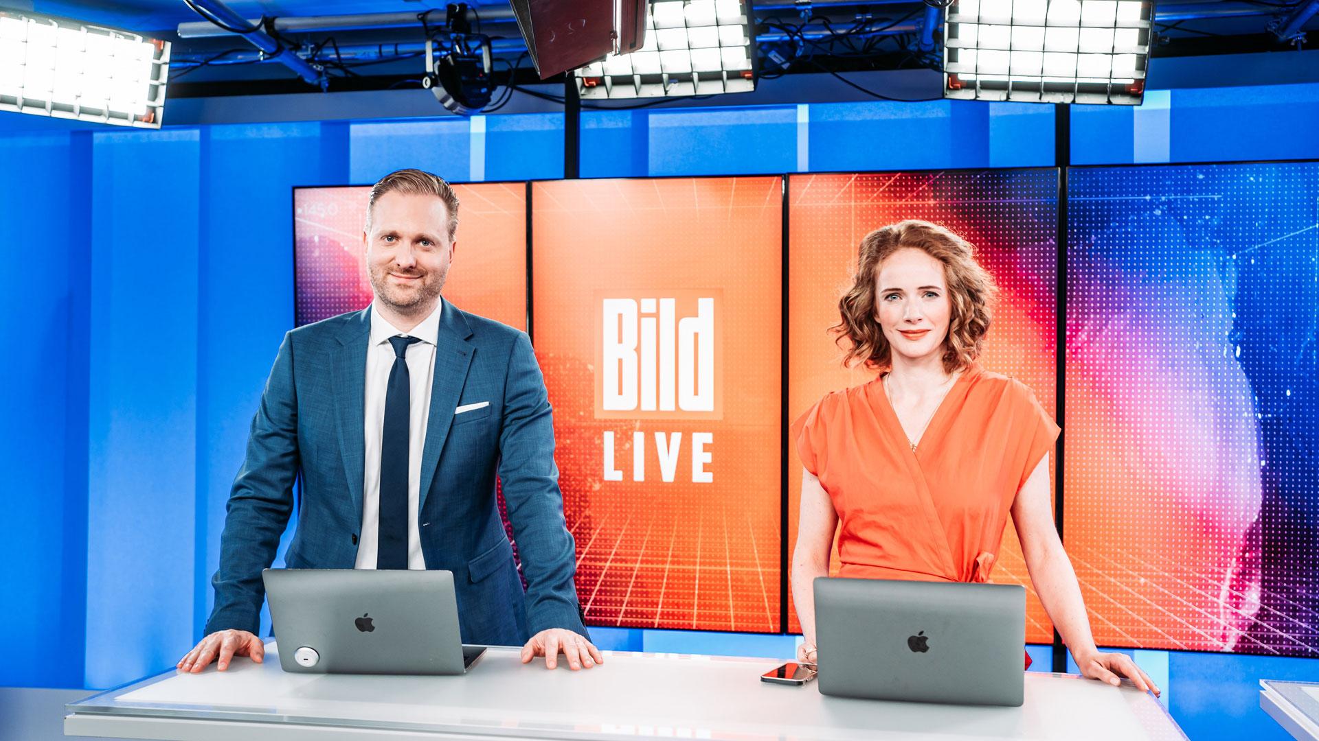 Das Team von BILD LIVE: Moderatorin Patricia Platiel und Moderator Kai Weise im Studio