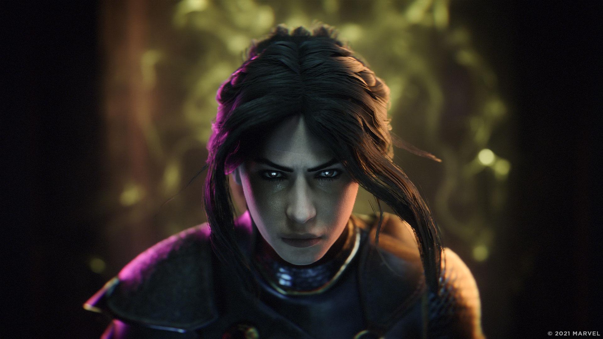 Deine Spielefigur Hunter im Spiel Marvel's Midnight Suns
