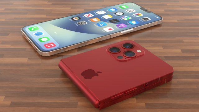 Konzeptdesign: Ein faltbares iPhone in Rot liegt auf einem Holztisch.
