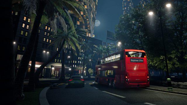 Ein Bus fährt bei Nacht im Spiel Bus Simulator 21