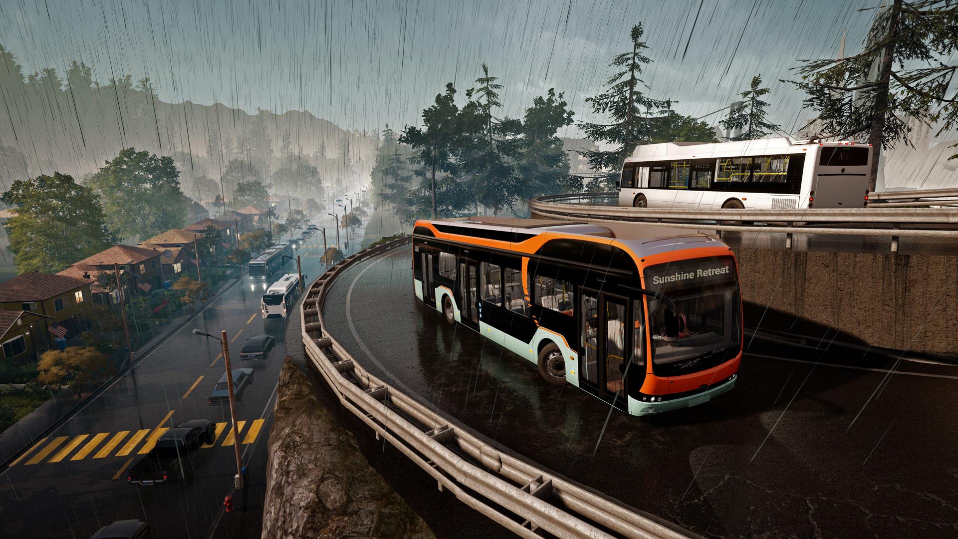 Ein Bus fährt durch den Regen im Spiel Bus Simulator 21