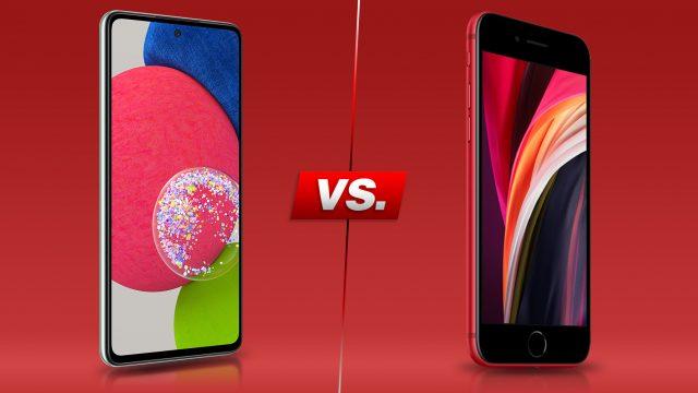 Samsung Galaxy A52s 5G und iPhone SE von vorne vor rotem Hintergrund