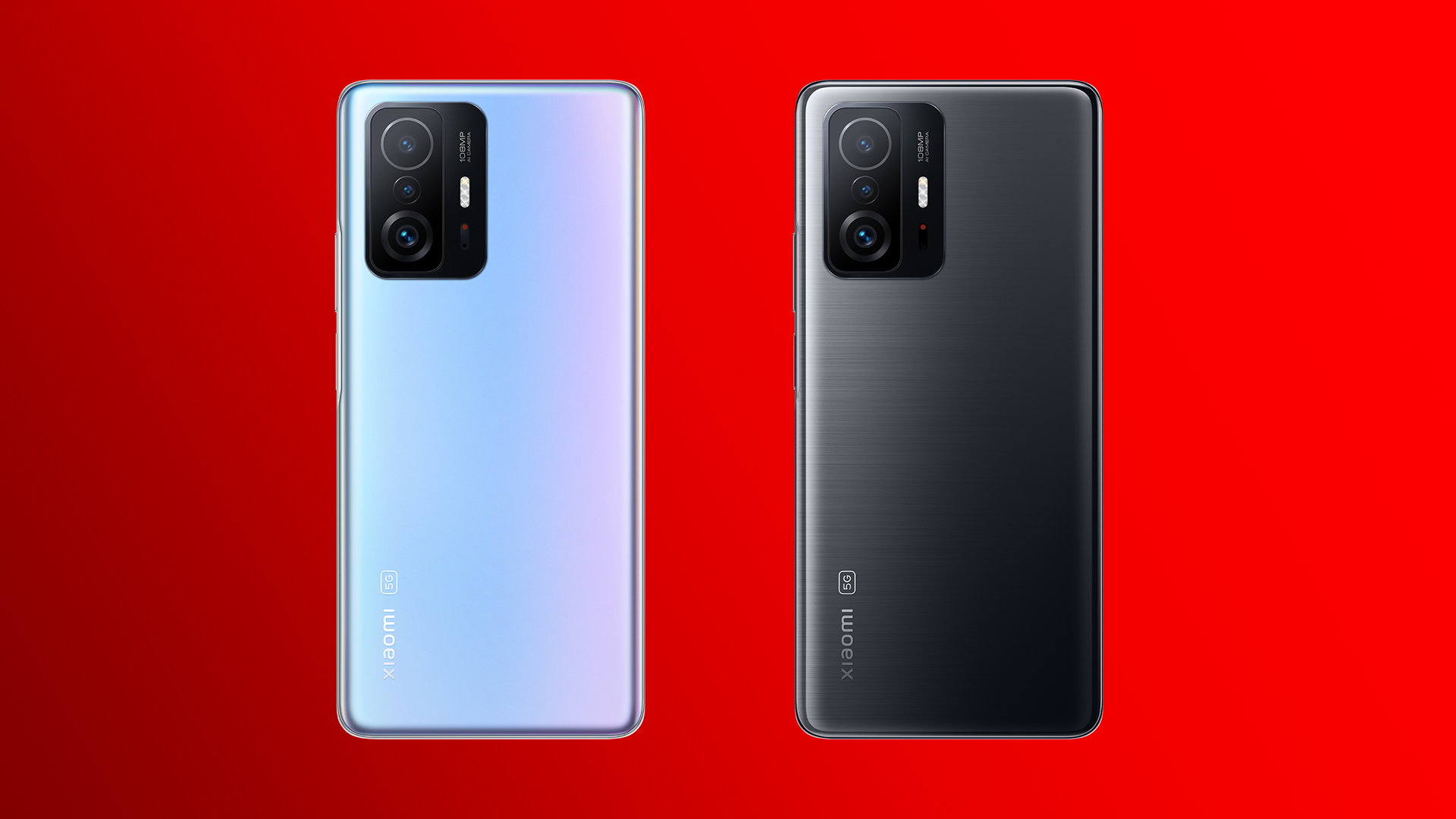 Das Xiaomi 11T Pro 5G in Celestial Blue und Meteorite Gray rückseitig mit Kamera-Linse.