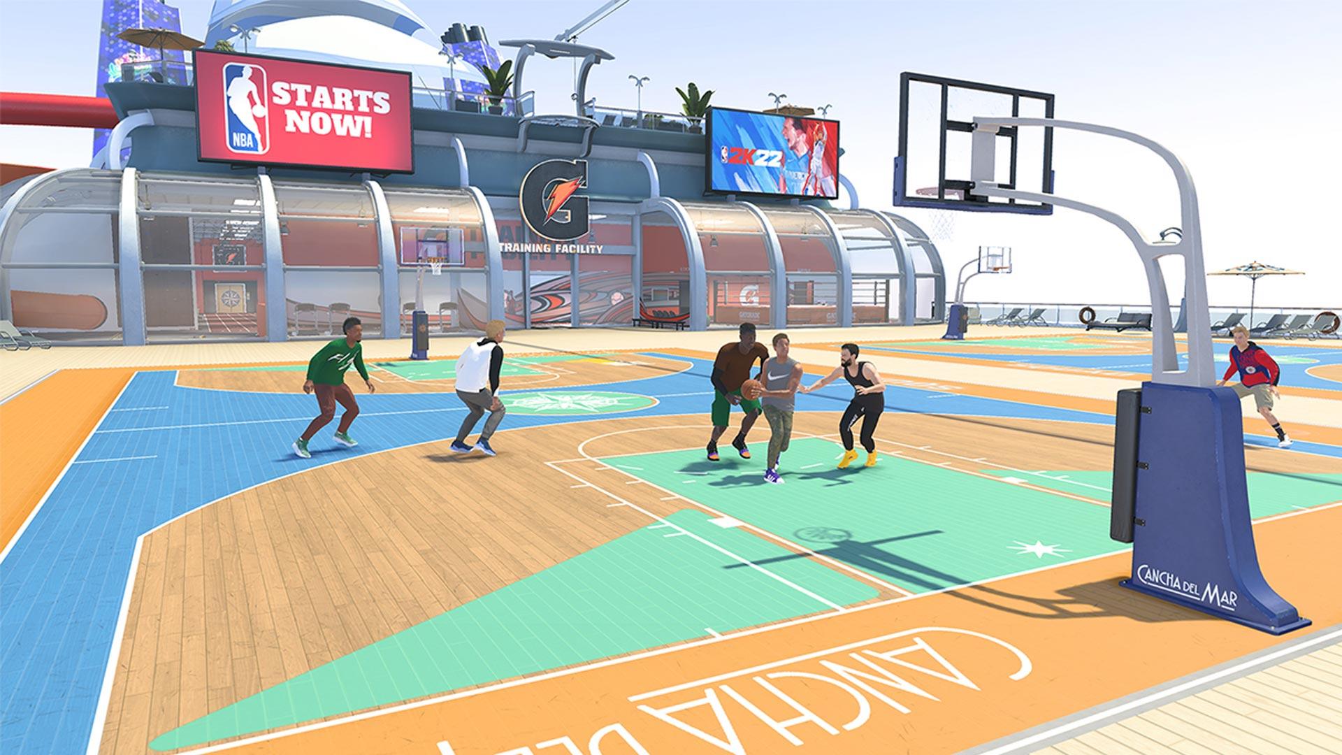 Ein Basketballspiel auf dem Deck eines Segelschiffes in NBA 2K22