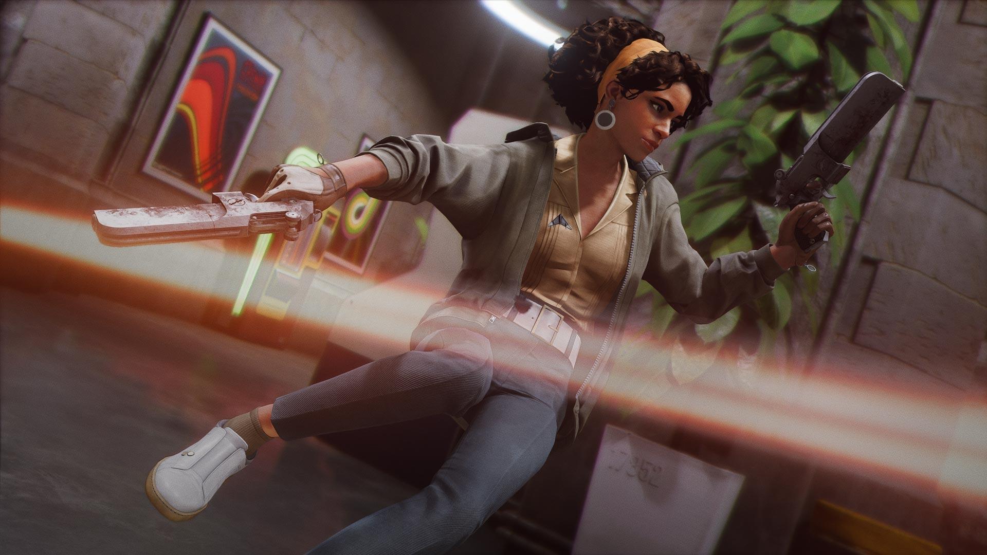 Eine Frau weicht einem Schuss aus im Spiel Deathloop