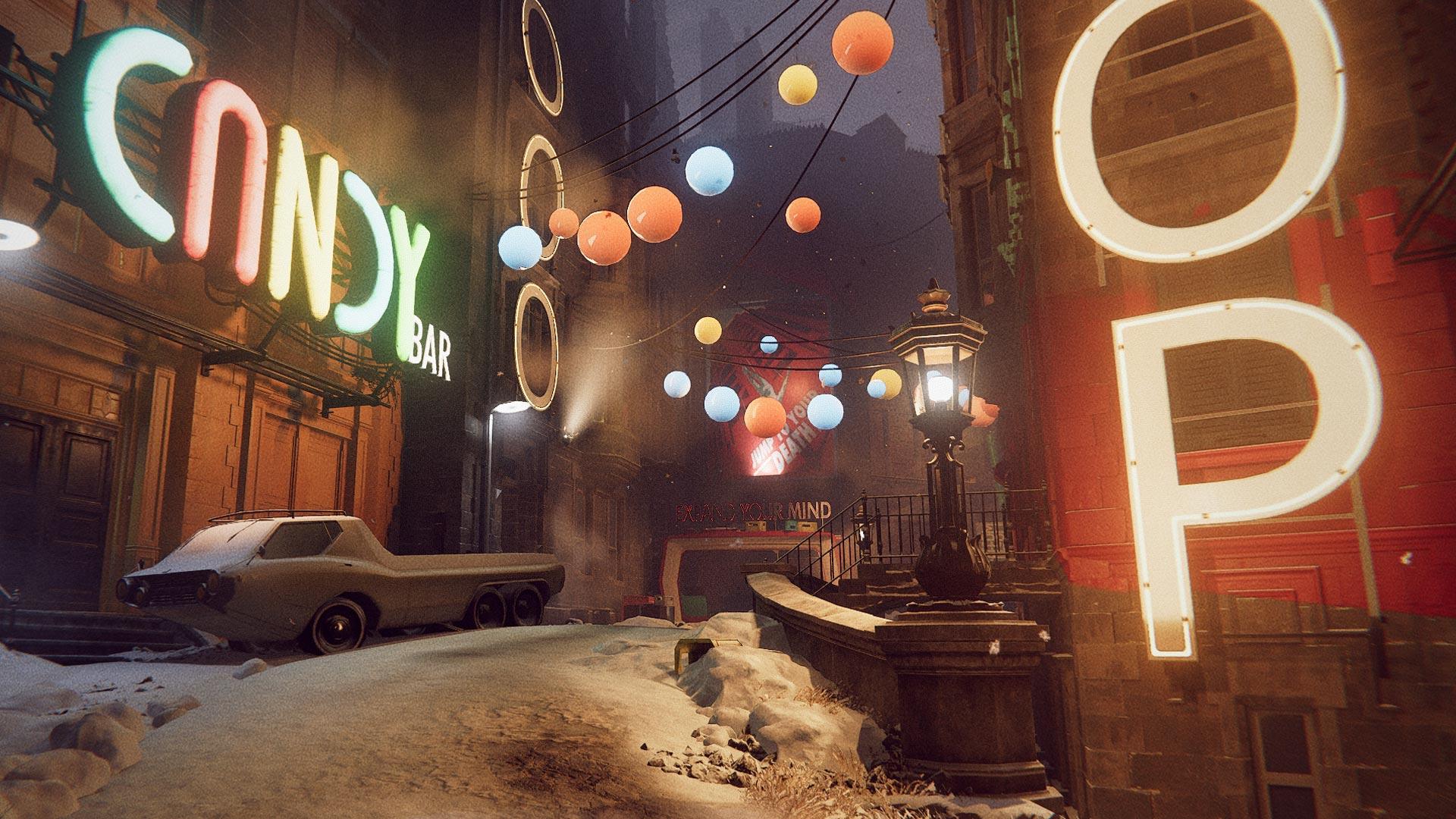 Eine verschneite Straße mit bunter Beleuchtung im Spiel Deathloop
