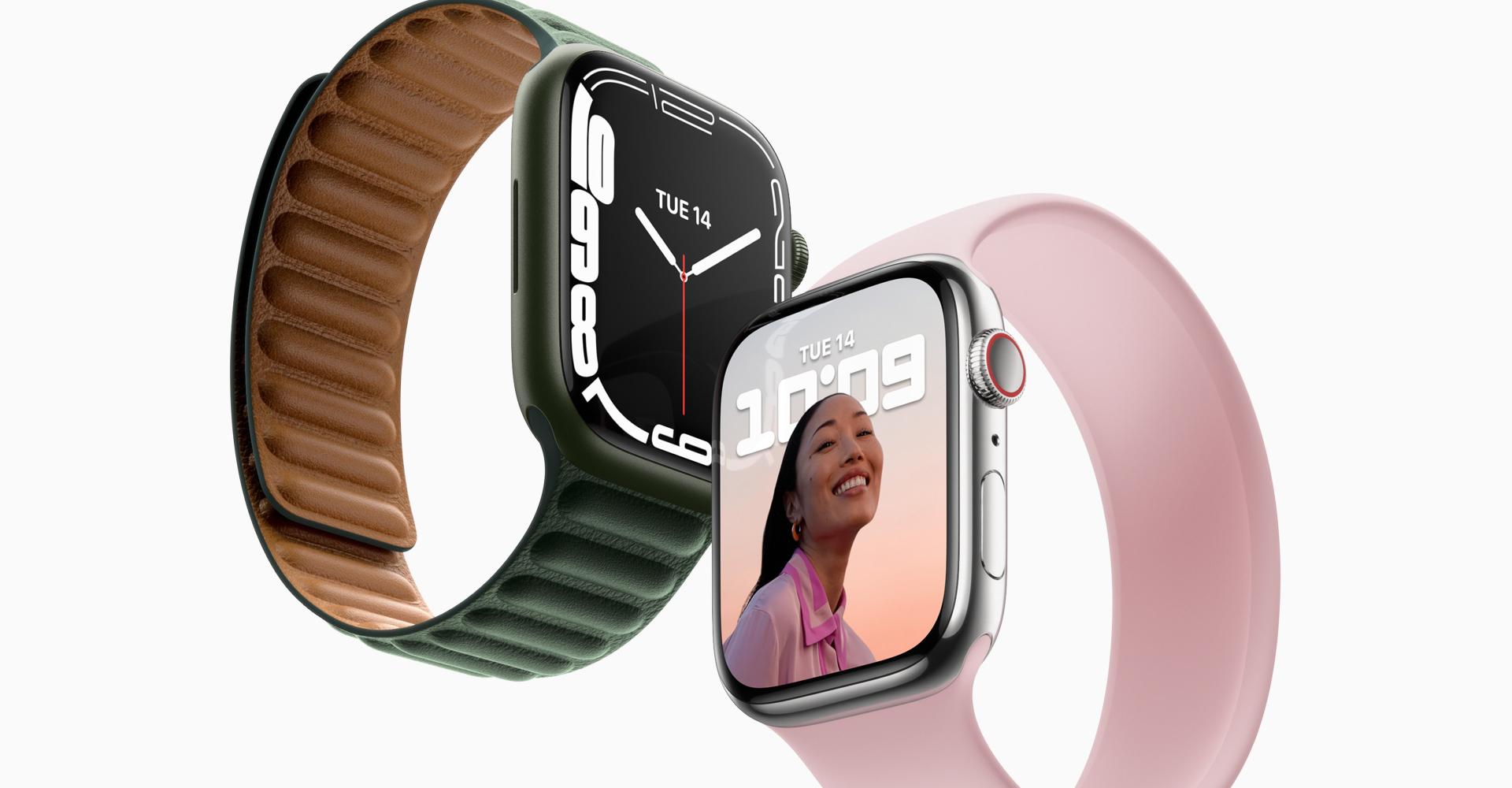 Apple Watch 7 in zwei Farben vor weißem Hintergrund