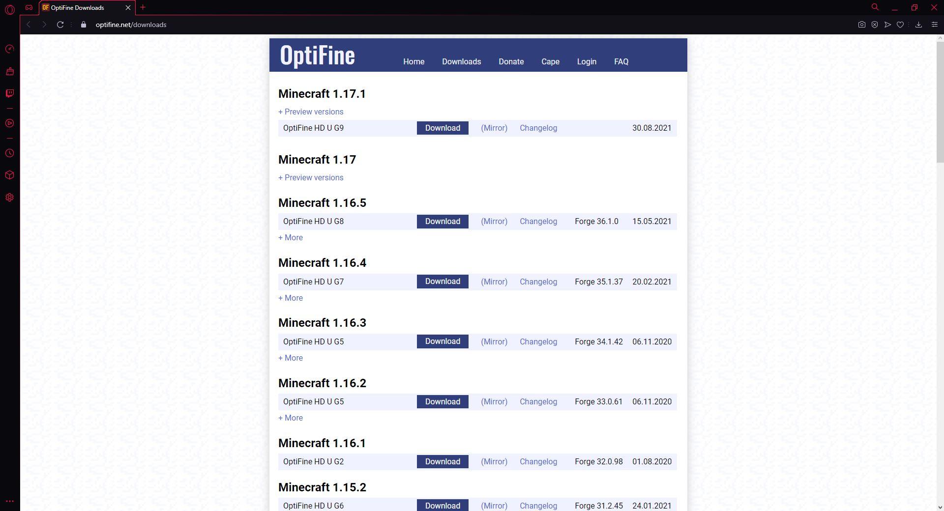 Zum Zeitpunkt des Screenshots gab es für Minecraft-Version 1.17.x keine Optifine-Version, die mit Forge kompatibel gewesen wäre.
