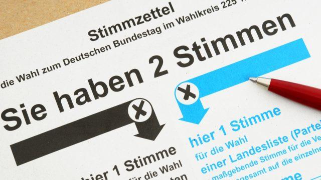 Ein Stimmzettel zur deutschen Bundestagswahl.