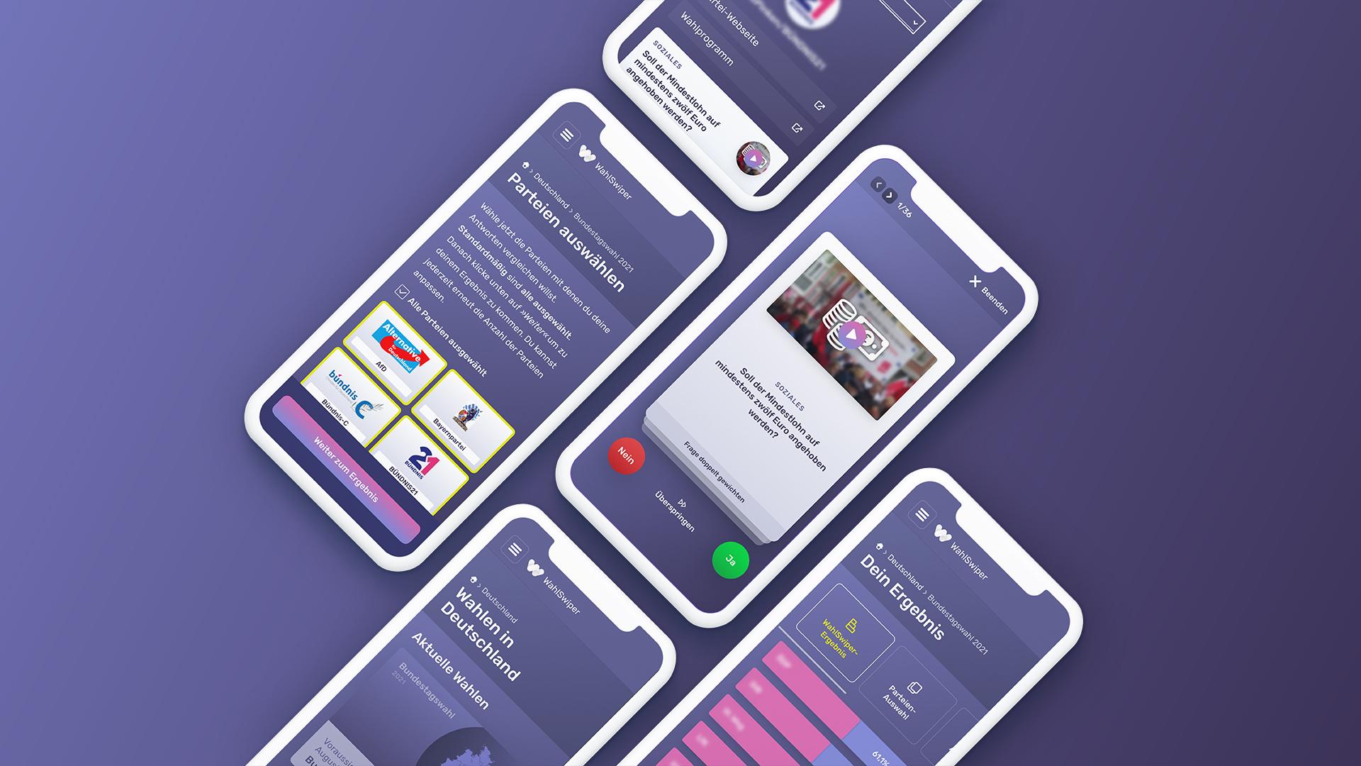 Auf mehreren Handy-Bildschirmen ist der WahlSwiper zu sehen, ein digitales Tool zur Bundestagswahl 2021.