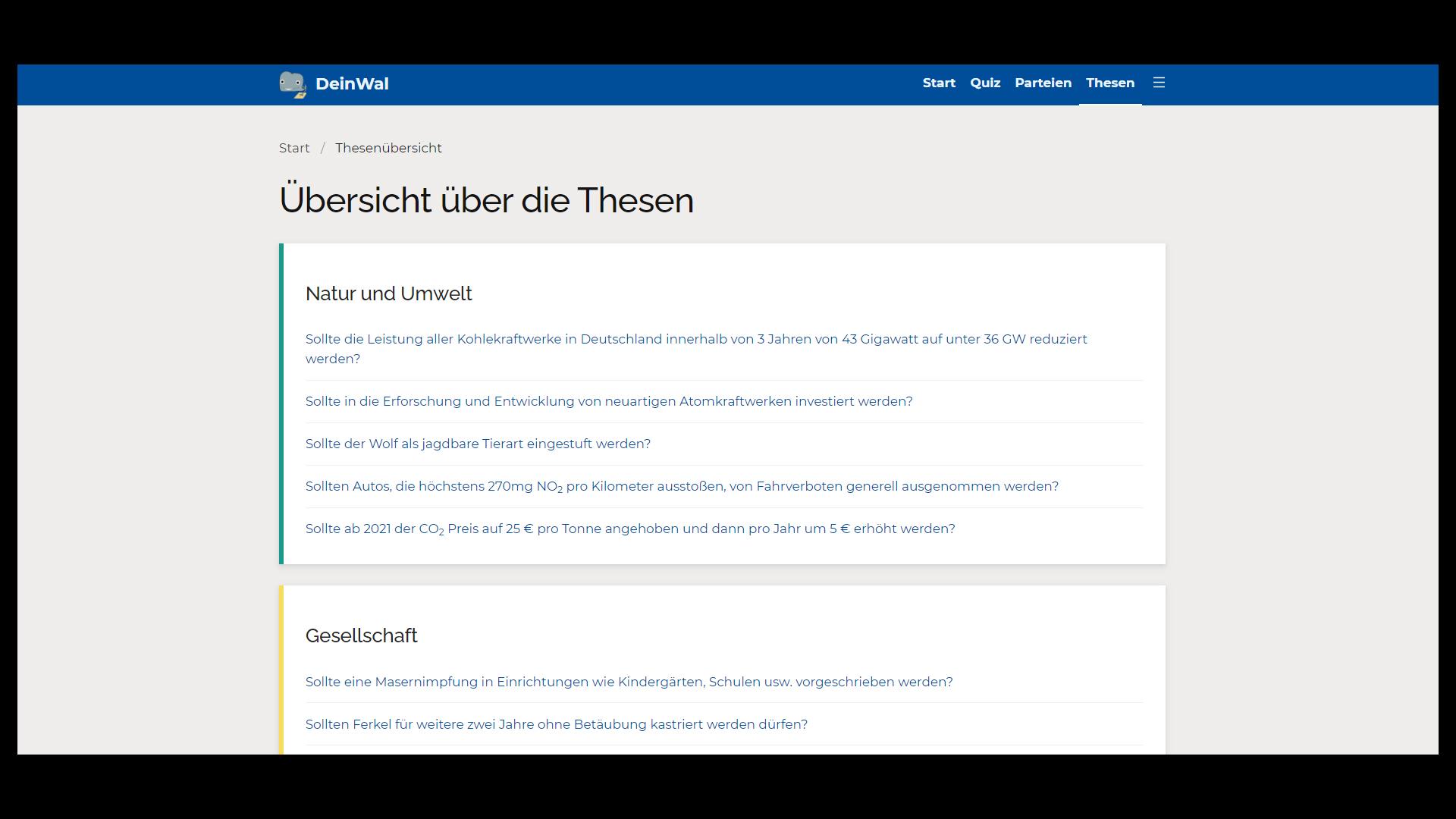 """Eine Übersicht zu allen Quiz-Fragen des Browser-Tools """"DeinWal.de"""" zur Bundestagswahl 2021."""