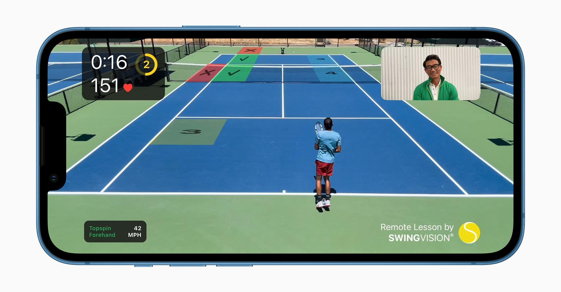iPhone 13 von vorne mit der App Swing Vision