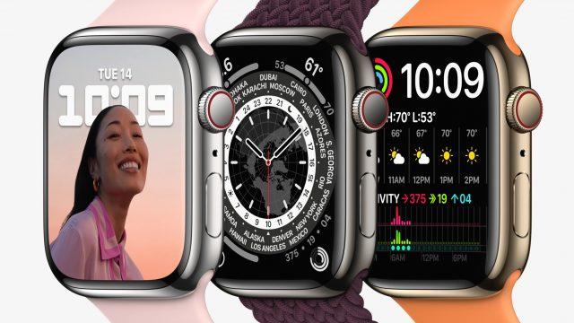 Apple Watch Series 7 in drei Ausführungen nebeneinander