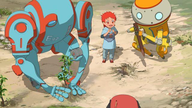 Eden Header Roboter und Menschen auf einer leblosen Erde