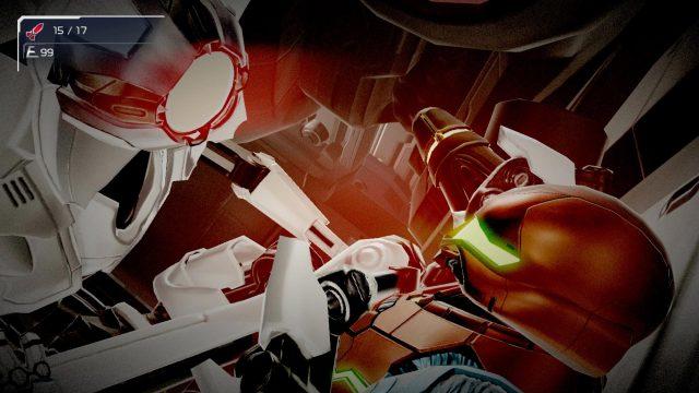 Ein Roboter kämpft gegen Samus Aran im Spiel Metroid Dread