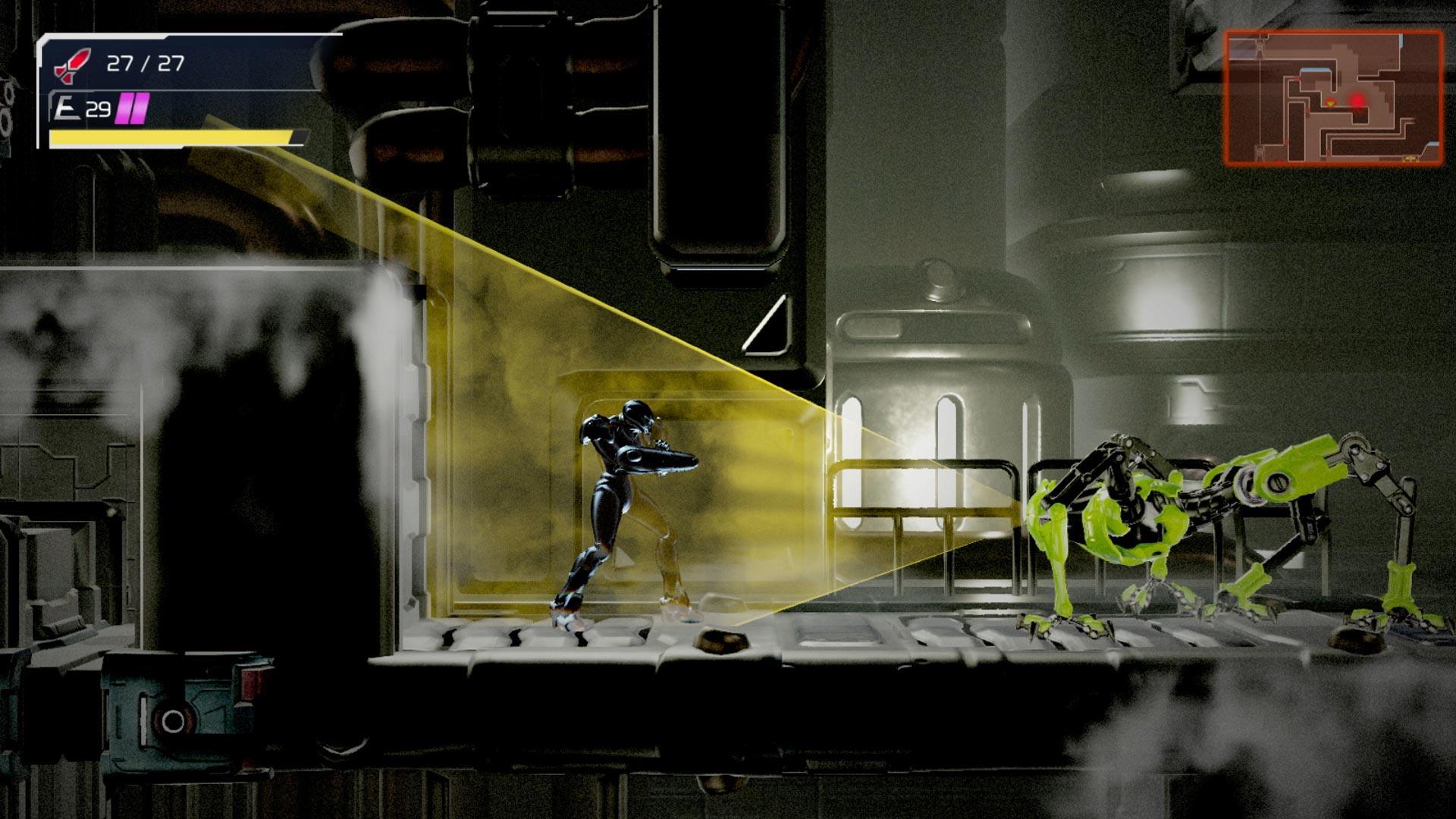 Samus Aran trant sich vor einem Roboter im Spiel Metroid Dread
