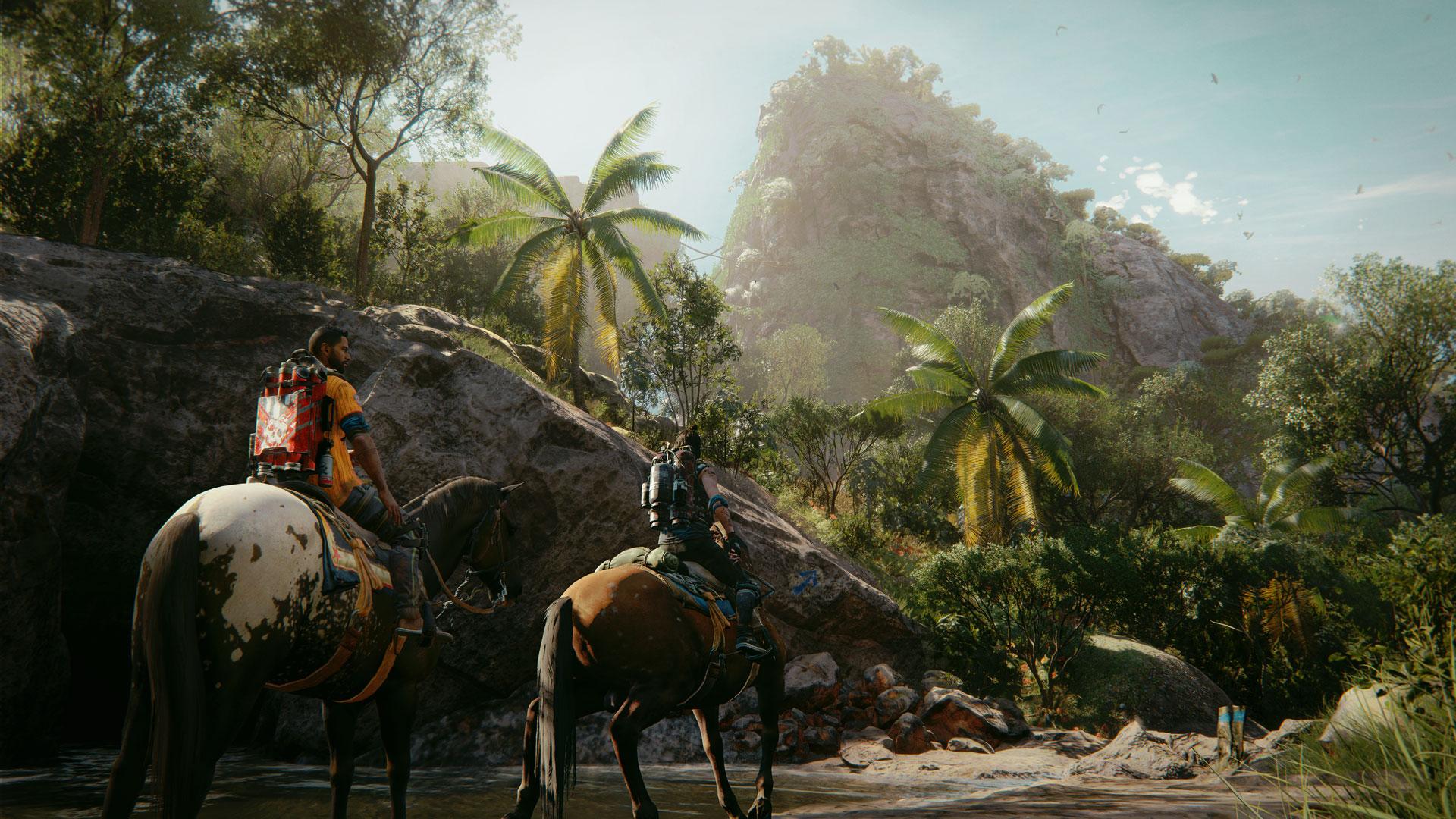 """Dani Rojas reitet mit einem Supremos-Rucksack durch eine Dschungel-Landschaft in """"Far Cry 6""""."""