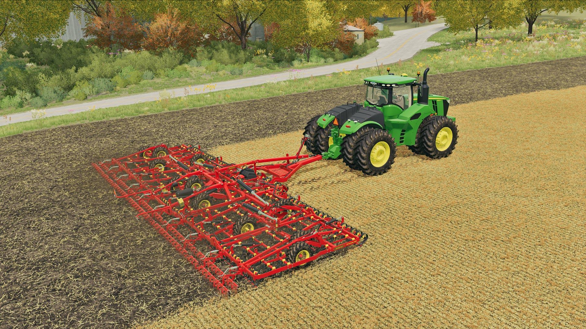 Ein Traktor pflügt ein Feld im Spiel Landwirtschafts-Simulator 22