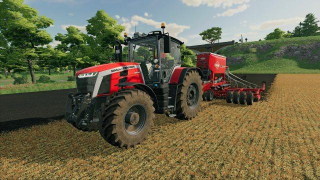 Ein Traktor auf einem Feld im Spiel landwirtschafts-Simulator 22