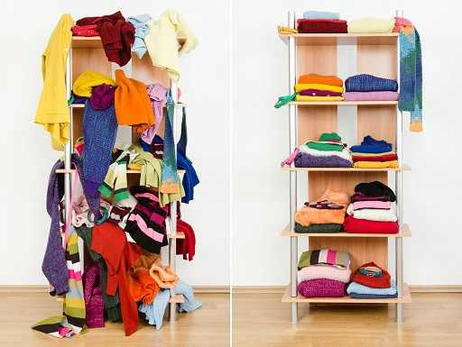 An unorganized closet next to an organized one which spark a joy