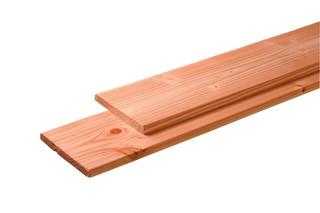 Douglas plank 1 zijde geschaafd, 1 zijde fijnbezaagd 2,8 x 19,5 x 300 cm, onbehandeld.