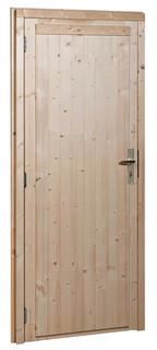 Vuren enkele dichte deur linksdraaiend inclusief kozijn, 91 x 201,5 cm, groen geïmpregneerd.
