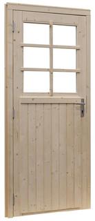 Vuren enkele 6-ruits deur linksdraaiend inclusief kozijn, 91 x 201,5 cm, groen geïmpregneerd.