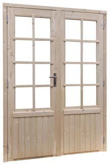 Vuren dubbele glasdeur 8-ruits, inclusief kozijn. afm 169 x 201,5 cm,  groen geïmpregneerd.