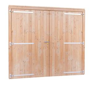Douglas dubbele dichte deur extra breed inclusief kozijn. 254 x 208 cm, groen geïmpregneerd.