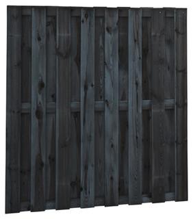 Geschaafd plankenscherm grenen 15-planks 15 mm 180 x 180 cm, recht, zwart gedompeld.
