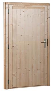 Vuren enkele dichte deur extra breed linksdraaiend inclusief kozijn, 114 x 201,5 cm, onbehandeld.